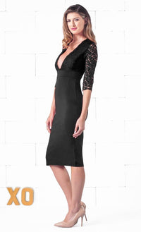 Indie XO Secret Rendezvous Black Floral Lace 3/4 Sleeve Bodycon Plunging Neckline Pencil Skirt Midi Dress - Just Ours! - Sold Out