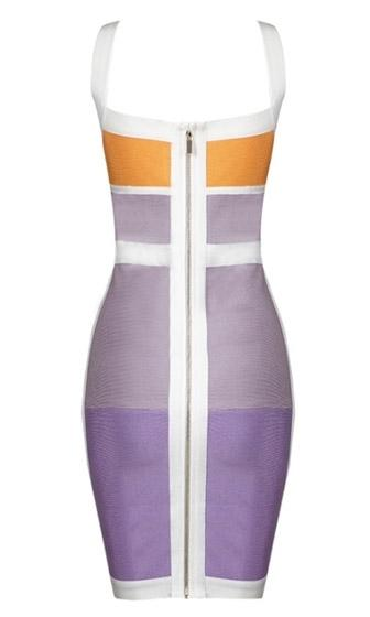 Bright Ideas Grey Purple Orange White Sleeveless V Neck Color Block Bandage Bodycon Mini Dress