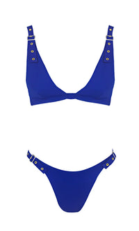 South Shore Blue Sleeveless V Neck Grommet High Cut Brazilian Two Piece Bikini Swimsuit - Sold Out