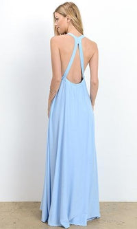 Dream World Light Blue Embroidery Sleeveless V Neck A Line Maxi Dress - Sold Out