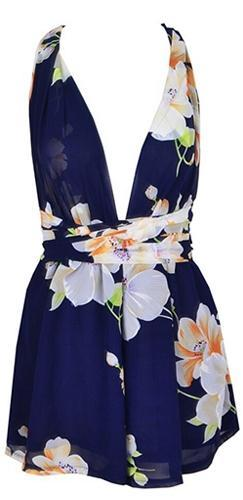 All Good Things Blue Beige White Purple Green Floral Sleeveless Plunge V Neck Cross Back Short Romper - Sold Out