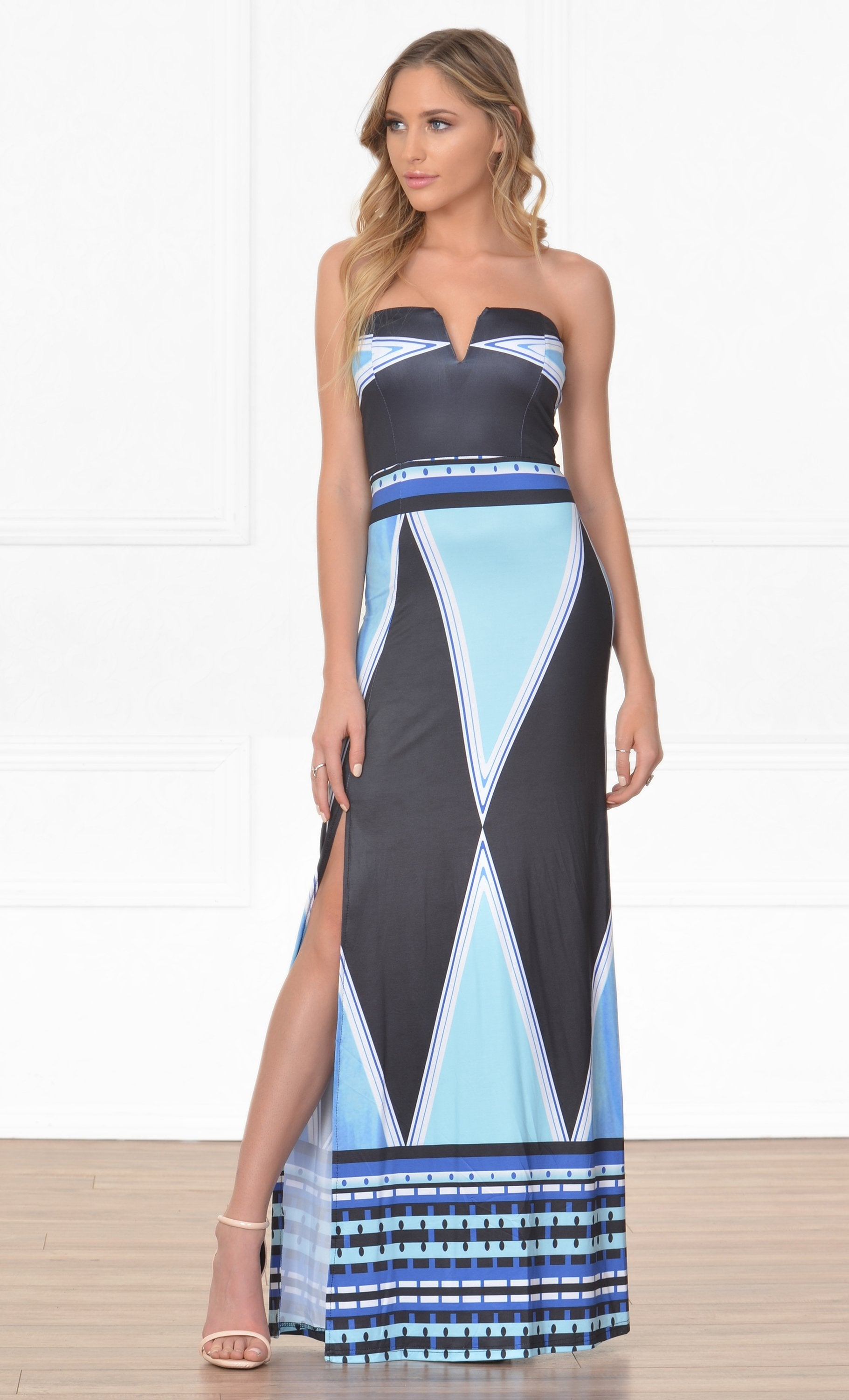 Indie XO Over The Moon Blue White Black Mint Tribal Geometric Strapless V Neck High Slit Casual Maxi Dress