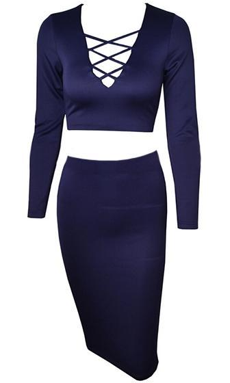 Life In The Fast Lane Navy Blue Long Sleeeve Plunge V Neck Crisscross Crop Top Bandage Bodycon Two Piece Midi Dress - Sold Out