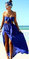 Following You Blue Strapless Tie Front Crop Top Elastic Waist Slit Maxi Two Piece Dress - Sold out
