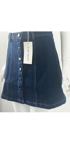 Denim Diva Blue Button Up Denim A Line Mini Skirt - Sold Out