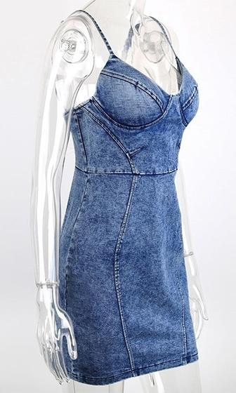 Good Sport Blue Denim Spaghetti Strap Bustier V Neck Stretch Denim Bodycon Mini Dress - Sold Out