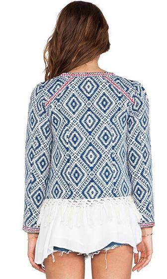 Geo Dream Blue White Red Geometric Diamond Long Sleeve Collarless Fringe Trim Blazer Jacket - Sold Out