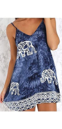 Indonesian Dream Blue White Tie Dye Elephant Geometric Spaghetti Strap V Neck Mini Dress- Sold Out