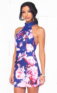 Indie XO Botanical Bliss Navy Blue Pink Purple White Floral Sleeveless Halter Cut Out Back Bodycon Mini Dress - Just Ours! Out of Stock- Sold Out
