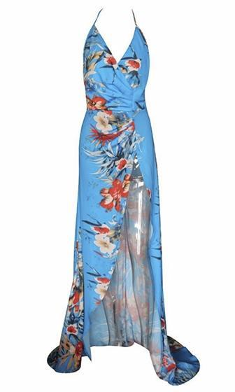 Island Time Blue Red White Floral Spaghetti Strap Cross Wrap V Neck Halter High Slit Maxi Dress - Sold Out