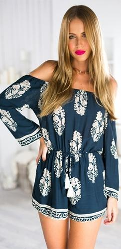 I Got Soul Navy Blue White Floral 3/4 Sleeve Off The Shoulder Tie Waist Loose Chiffon Romper - Sold Out