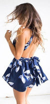 Summer Swing Blue White Floral Sleeveless Plunge V Neck Open Back Tie Waist Short Romper - Sold Out