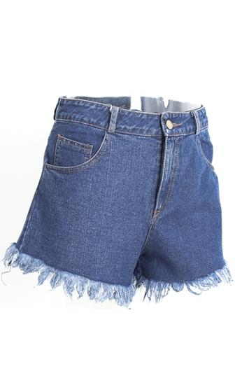 Off Duty Blue Frayed Hem 5 Pocket Denim Shorts - 2 Colors Available