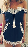 Home Sweet Home Blue White Lace Fringe Trim Off The Shoulder Romper Playsuit - Sold out