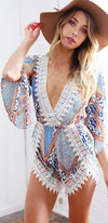 Festival Cutie Blue White Orange Beige Geometric 3/4 Sleeve Plunge V Neck Lace Trim Tulip Romper - Sold Out