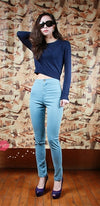 Light Blue High Waist Zip Button Leggings Jeans Stretch Pants - Sold Out