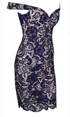Forever Yours Navy Blue Beige Lace Off The Shoulder V Neck Bodycon Midi Dress - Sold Out
