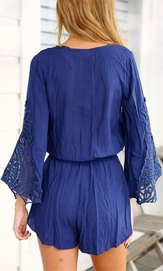 Child Of The Moon Blue Long Bell Sleeve Lace Trim Cross Wrap V Neck Short Romper - Sold Out