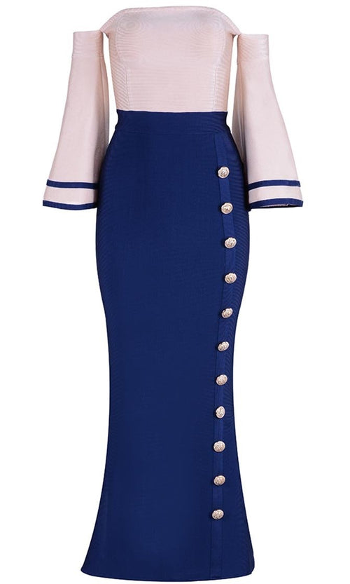 Final Chapter Navy Blue Ivory Off The Shoulder Flare Sleeve Button Mermaid Midi Bandage Dress