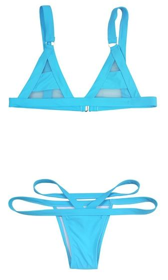 Blue Sheer Mesh Stripe Triangle Top Cut Out Brazilian Two Piece Bikini Swimsuit