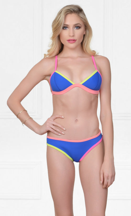 Indie XO Horseshoe Bay Neoprene Blue Pink Yellow Spaghetti Strap Triangle Top Hipster Brief Two Piece Bikini Swimsuit Set