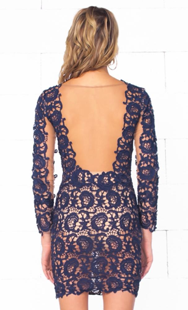 Indie XO Only Lovers Navy Blue Semi Sheer Floral Lace Long Sleeve Body Con Fitted Mini Dress - Just Ours! - Sold Out
