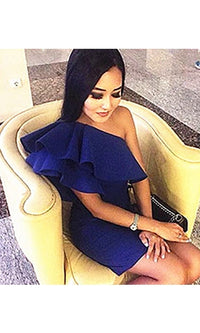 Let's Go Crazy Blue One Shoulder Ruffle Bodycon Mini Dress - Sold Out