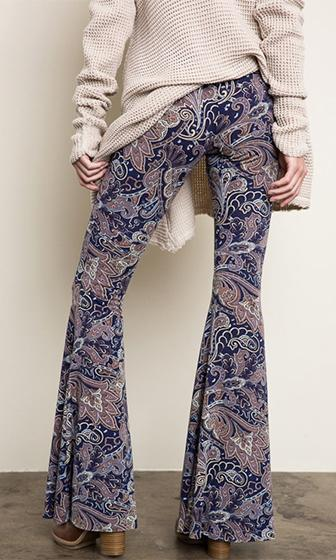 Free Bird Blue Beige Brown White Paisley Elastic Waist Stretch Bell Bottom Flare Leg Pants - Sold out