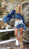 High Tides Blue White Green Paisley Long Bell Sleeve Off The Shoulder Tassel Crop Peasant Blouse - Sold Out