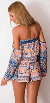 Main Stage Pink Blue White Orange Floral Long Sleeve Off The Shoulder Tie Waist Romper - Sold Out