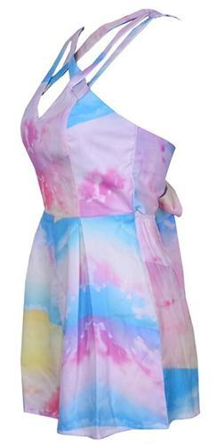 9911434f5c45 Sea Spray White Pink Blue Yellow Purple Tie Dye Cross Strap Sleeveless V  Neck Tie Back