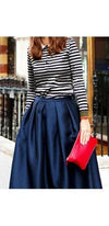 Dark Blue Shiny Vintage Ankle Length Pleated Full Maxi Skirt - Sold Out