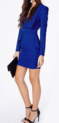 Royal Blue Long Sleeve Plunge V Neck Wide Lapel Split Peplum Bodycon Mini Dress !!- Sold Out