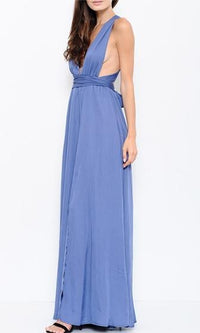 Climb The Ranks Blue Sleeveless Plunge V Neck X Back Maxi Dress - Sold Out
