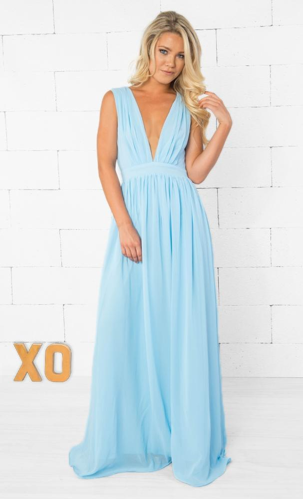 Indie XO Let It Go Light Blue Sleeveless Plunge V Neck Pleated Loose Cut Out Back Maxi Dress Gown - Just Ours! SOLD OUT