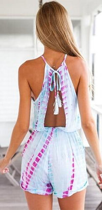 Light Blue Purple Tie Dye Sleeveless Scoop Neck Halter Tie Waist Short Romper - Sold Out