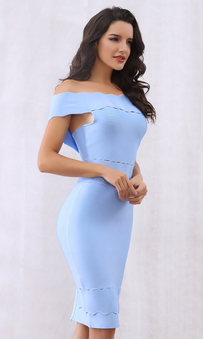 Icy Heart Blue Short Sleeve Off The Shoulder Scallop Bodycon Bandage Mini Dress