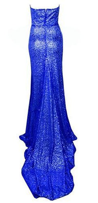 Glamour Queen Blue Sequin Strapless V Neck Fishtail Mermaid Maxi Dress Gown  - Sold Out