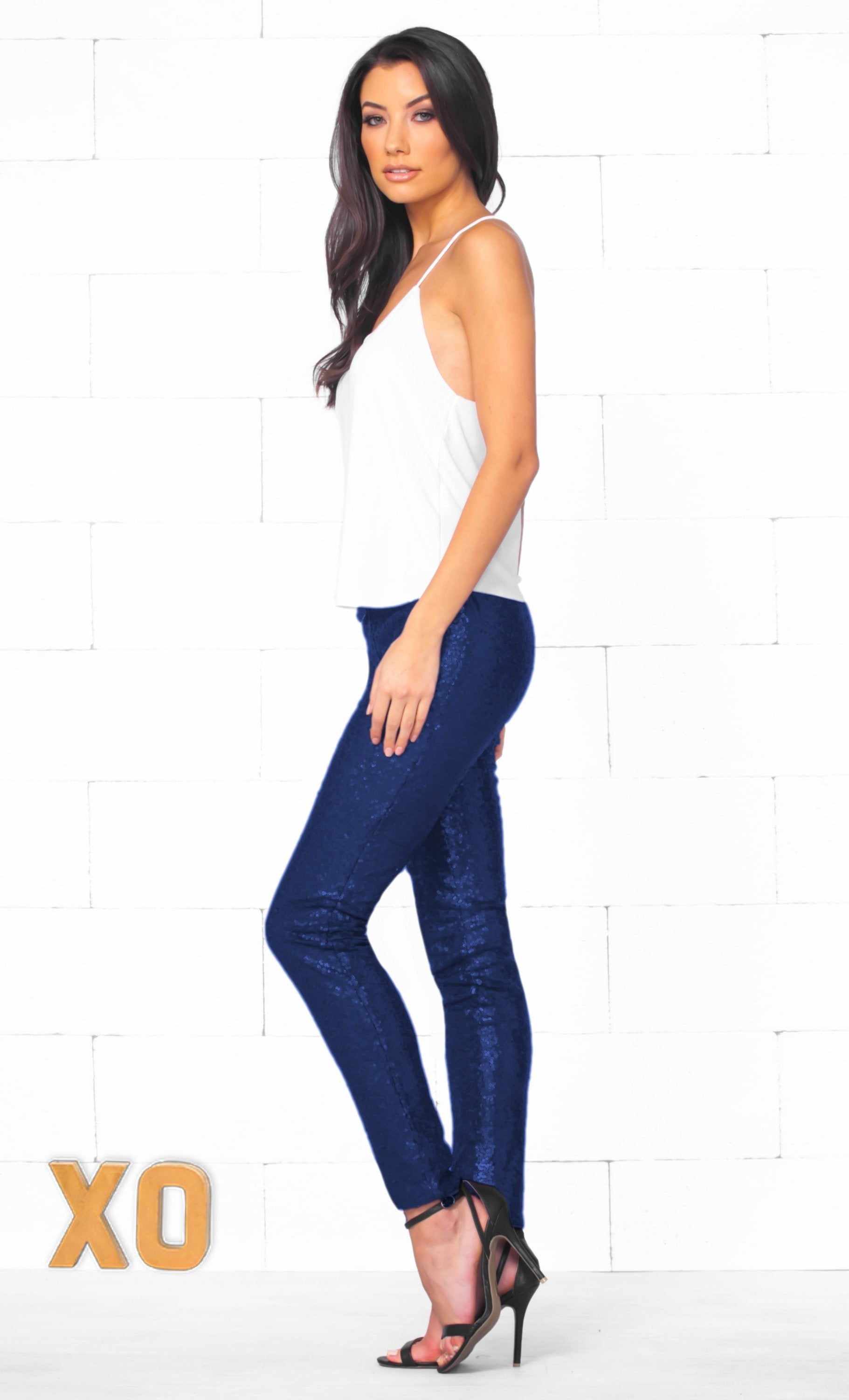 Indie XO Get Your Sparkle On Blue Sequin Stretch Leggings with Elastic Waistband- Sold Out