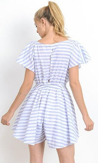 Cut Me Loose Blue White Stripe Short Sleeve Plunge Knot V Neck Cut Out Waist Short Romper Playsuit - Sold Out
