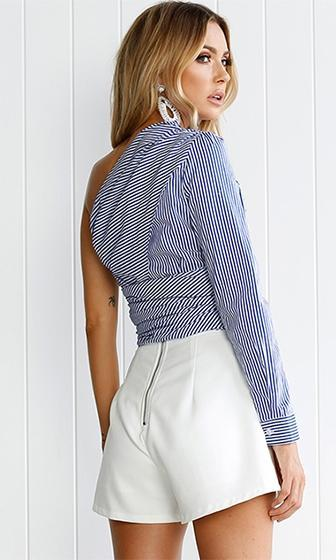 Coming To Win Blue White Stripe Pattern One Shoulder Long Sleeve Tie Waist Blouse Top