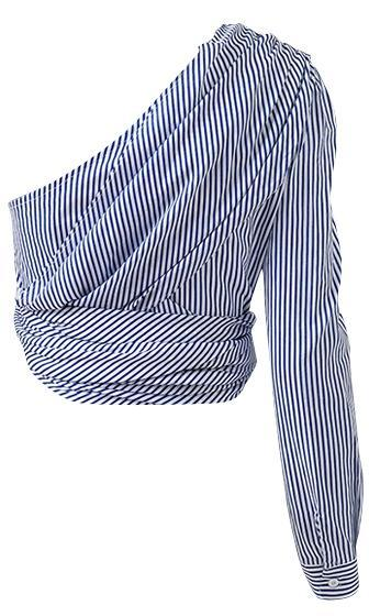 Coming To Win Blue White Stripe Pattern One Shoulder Long Sleeve Tie Waist Blouse Top - Sold Out