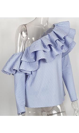 Foolish Love Blue White Stripe Pattern Long Sleeve One Shoulder Ruffle Blouse Top