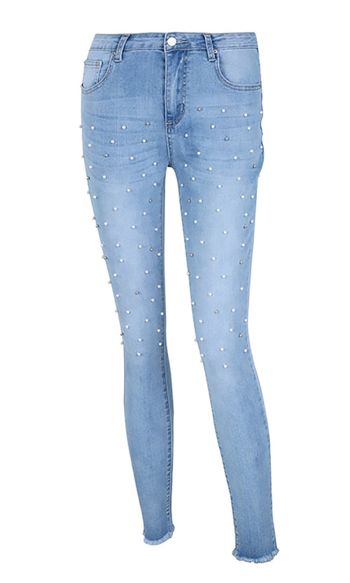 Daytime Diva Light Blue Pearl Stud Skinny Denim Jeans Pants