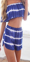 Malibu Blue White Tie Dye Off the Shoulder Ruffle Crop Top Elastic Waist Shorts Romper Two Piece Set - Back in Stock - Sold Out