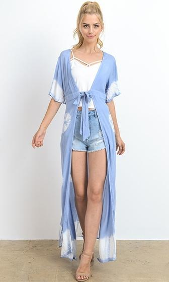 Festival Fab Blue White Tie Dye Elbow Sleeve Tie Waist Maxi Cardigan - Sold Out