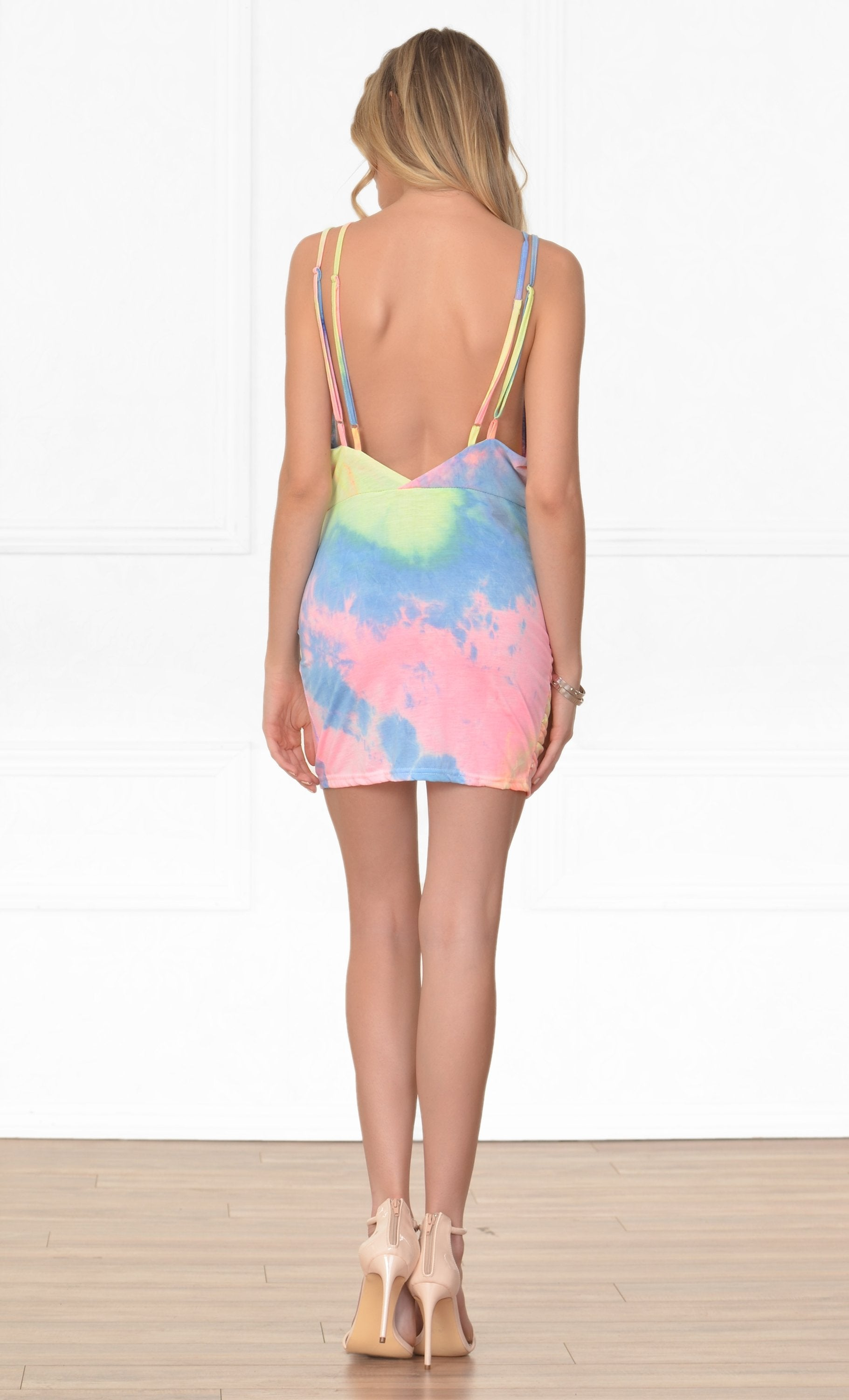 Indie XO Peace and Love Blue Yellow Pink Tie Dye Sleeveless Plunge V Neck Halter Backless Ruched Tulip Bodycon Mini Dress - Sold Out