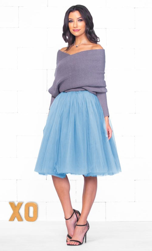 Indie XO 7 Layer On Pointe Light Baby Blue Tulle Pleated Ballerina A Line Full Midi Skirt - Just Ours!