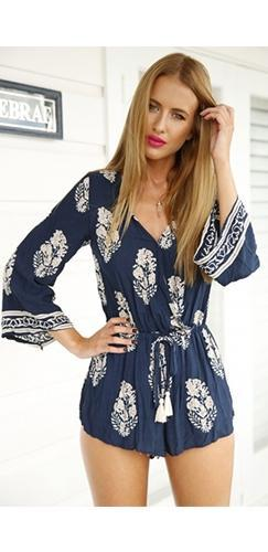 Mandala Blue White Floral Geometric Long Bell Sleeve Cross Wrap V Neck Short Romper - Sold Out