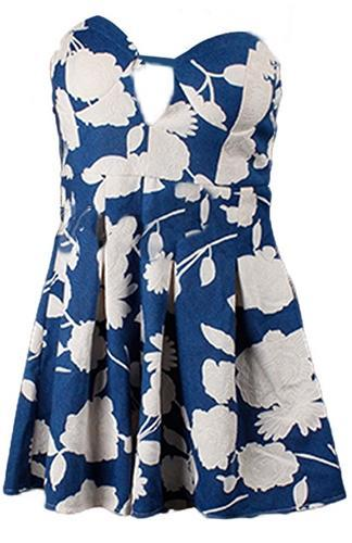 Buy Me an Island Blue White Floral Strapless Plunge V Neck Pleated Short Romper - Sold Out